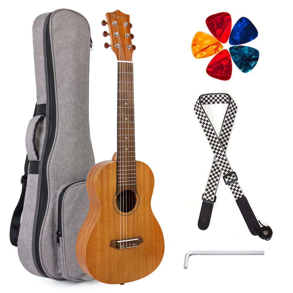 Kmise Guitalele 6 Strings Mini Travel Guitar Ukulele 31 Inch Mahogany 20 Frets With Gig Bag Picks Strap