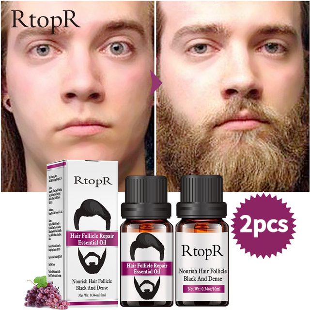 2PCS Hair Follicle Repair Oil Styling Moustache Moisturizing Oil Growth Of Beard Body Hair Eyebrow Care Smoothing Oil 10 ml 2