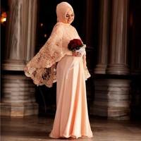 2017 Vestido De Festa Longo Muslim Evening Dress Hijab Turkish Women Clothing Chiffon Lace Jacket Pakistan