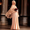 2017 Vestido De Festa Longo Vestido de Noche Musulmán Hijab Turco Mujeres Ropa Chaqueta De Encaje de Gasa Vestido de Pakistán