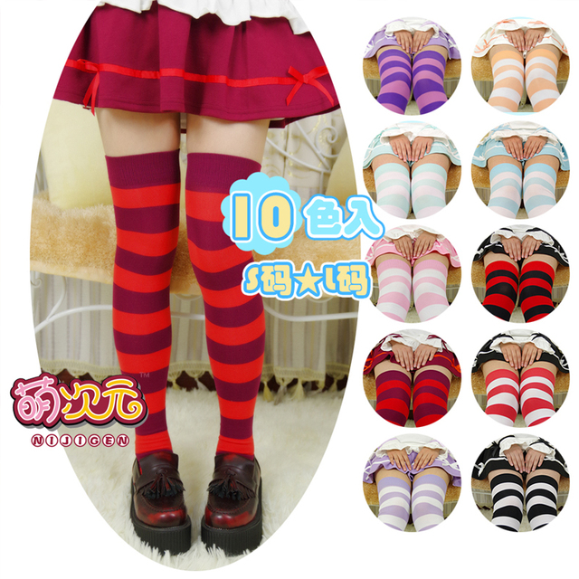 On Sale Cute Anime Cosplay Women's Lolita Over-knee Wide Stripe 100% Cotton Stockings Thigh High Long Size S & L 10 Colors