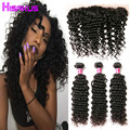 Curly Weave Human Hair Bundles with Frontal Indian Deep Wave with Frontal Raw Indian Hair Weave 3 Bundles with Frontal Closure