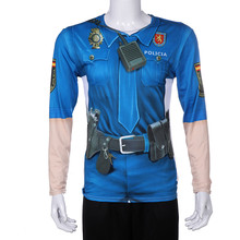 Blue police uniform Spanish costume cosplay 3D printing fashion personality long-sleeved t-shirt  adult Halloween