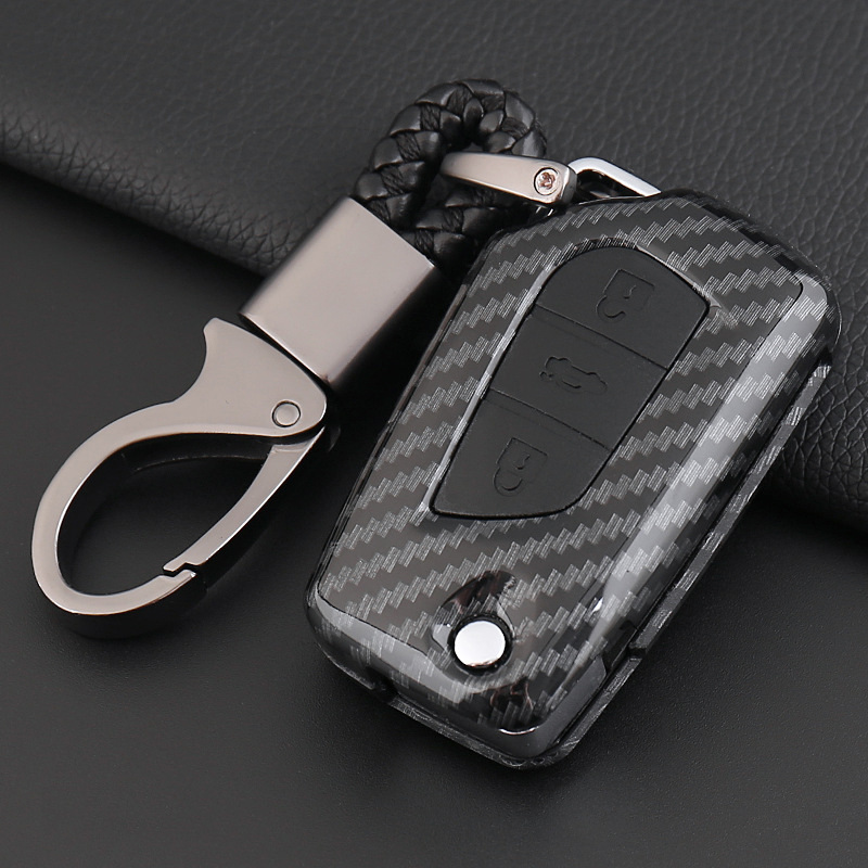 2019 Carbon fiber silicone Flip Folding Car Key Case Cover For Toyota Yaris Camry Corolla Prado REIZ Crown RAV4 Hilux Shell Bag in Key Case for Car from Automobiles Motorcycles