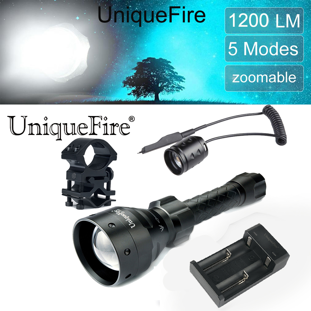UniqueFire Flashlight 1405 Cree XM-L2 Ultra Bright LED Flashlight 5 Modes Tactical Torch-Scope Mount-Two Slot Charger-Rat Tail uniquefire uf v6 long handle flashlight 1100lm cree xml 5 modes super bright white light flashlight torch for emergency patrol