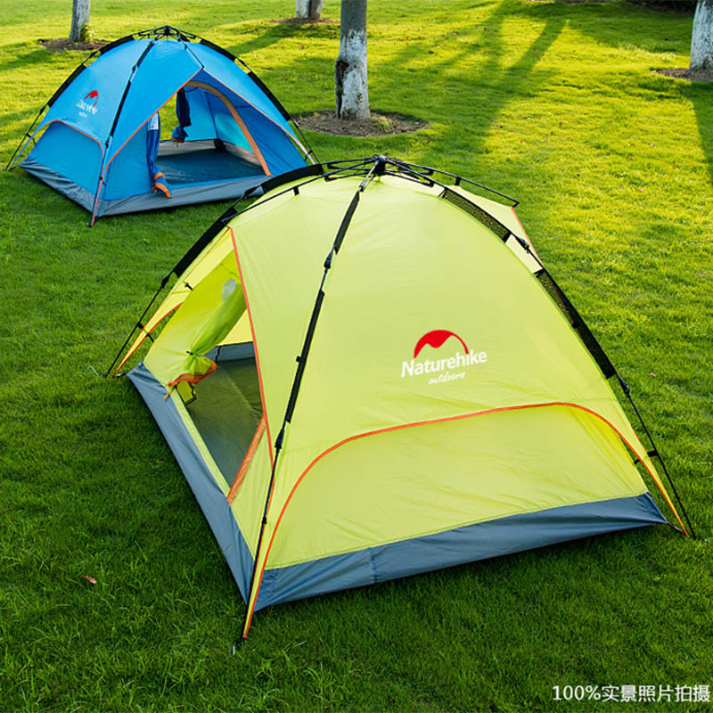 NH high quality outdoor double layers quick automatic opening rainproof camping tent with mat