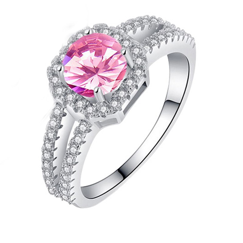 Round Pink Zircon Silver Color Ring For Women US# Size #6 / #7 / #8 / #9 M03-J2016