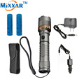 zk30 Cree XM-L T6 Self Defense 4000LM LED flashlight Rechargeable powerful Tactical Torch lamps 18650 5000mAh battery AC Charger