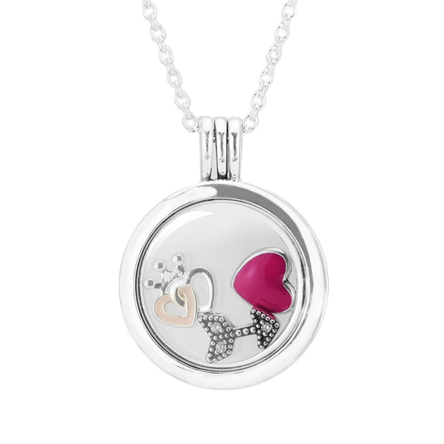 Sterling silver necklace pendant wholesale valentines day sterling silver necklace pendant wholesale valentines day petite elements crowned hearts floating locket medium mozeypictures Image collections