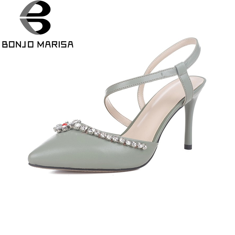 BONJOMARISA New women's Genuine Leather Thin High Heels Pointed Toe Solid slip-on Shoes Woman Casual Summer Sandals Size 34-39 sweet women high quality bowtie pointed toe flock flat shoes women casual summer ladies slip on casual zapatos mujer bt123