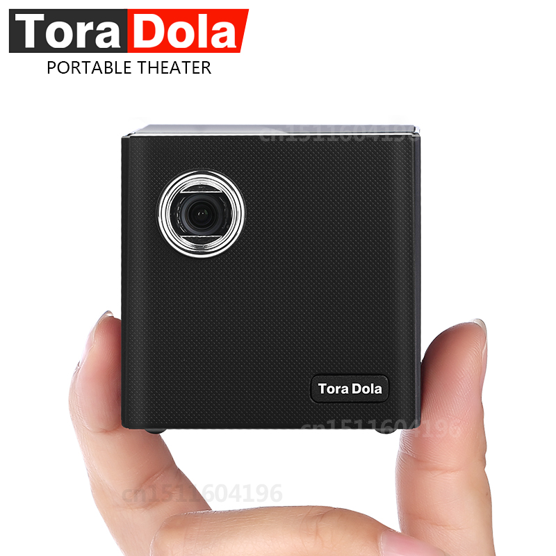 TORA DOLA Mini DLP Projector C80, Android 7.1.2OS WIFI for home cinema, portable Beamer LED video projector HD with battery