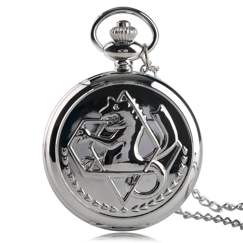 Vintage Anime Fullmetal Alchemist Silver Men Women Kid Quartz Pocket Watch Pendant Children Necklace Retro Cartoon Fashion Gift