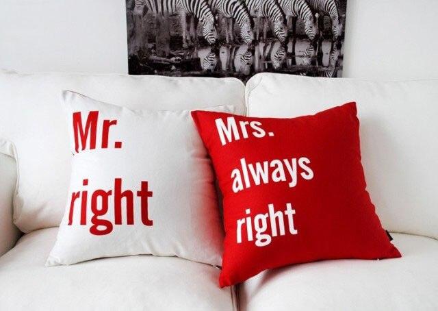 Red Mr Right Mrs Always Right Cushion Cover Set Velvet Mr