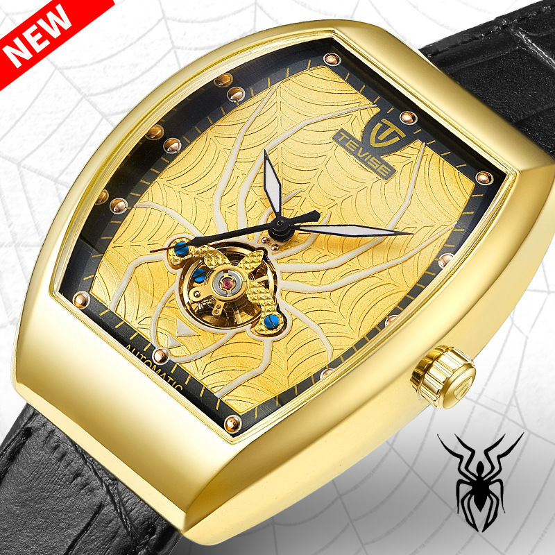 Hot TEVISE Creative Men Watch Spider Luminous Watch Square Automatic Watches Leather Mechanical Wristwatches Fashion Male Clock