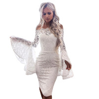 Sexy Off Shoulder White Lace Dress Women Long Flare Sleeve Bodycon Midi Dress Elegant Nightclub Evening