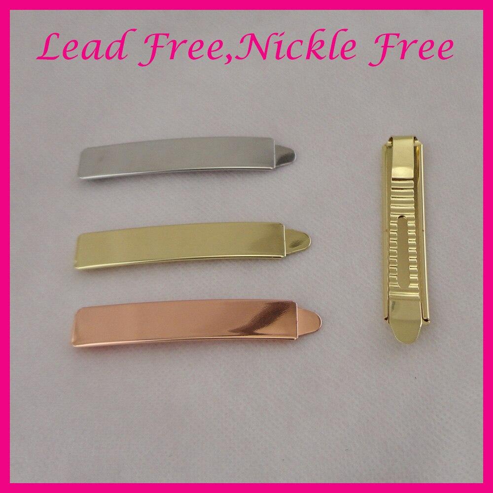 40PCS 7 2cm shiny Plain Metal Slide Bobby pins girl s hair barrettes for women girls