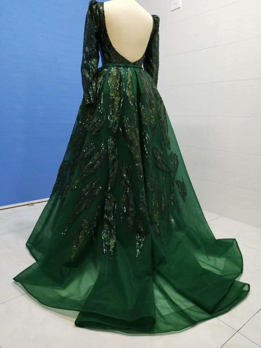 2019 vraies photos hunter vert haut côté fente pailletée dentelle col bateau dos nu manches longues robe de soirée robe de soirée dubaï - 2