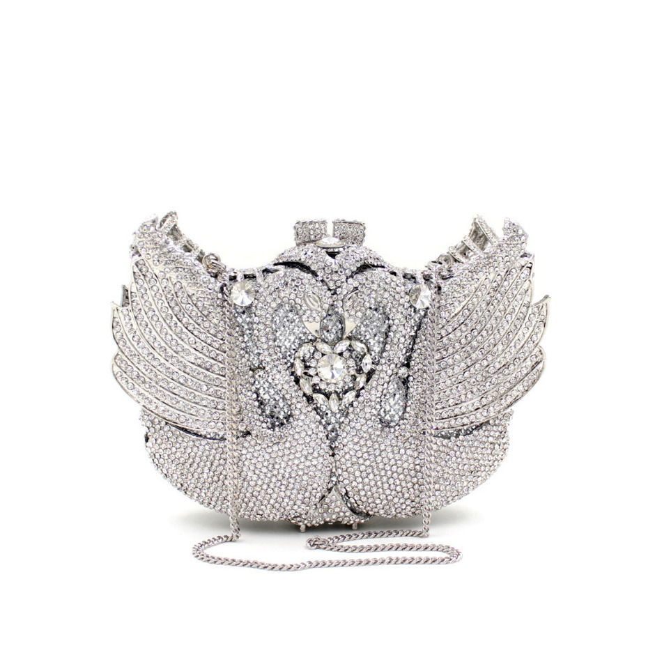 ФОТО Mystic River Women Handbags Animal Luxury Crystal Evening Bags Pair Swan Shape Diamonds Bouquet Party Wedding Day Clutches
