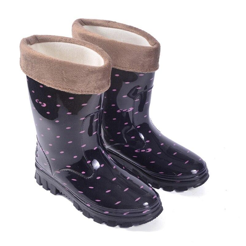 Womens Long barreled Non Slip Rain Boots Flat Heel Comfortable and