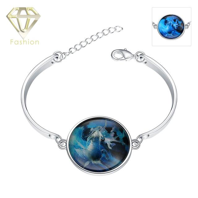 Matching Bracelets For Men Women Luminous Series Fashion Silver Plated Round Pendant Marked Capricorn Sky Bracelet