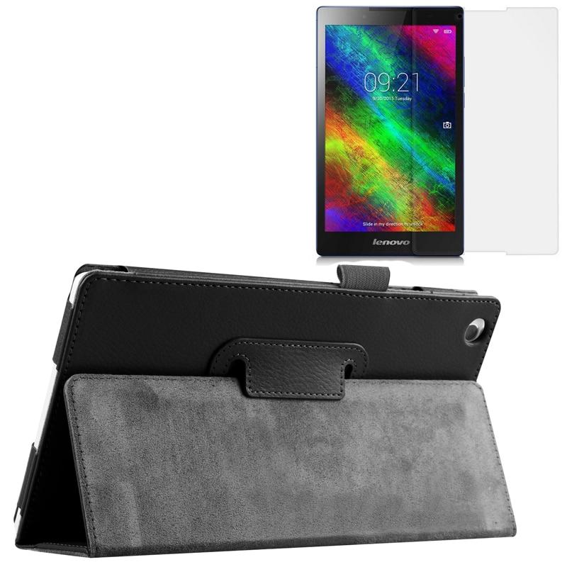 Ny Luxury Folio Stativ Magnetisk Läderfodral Skyddskåpa + 1x Clear Screen Protector För Lenovo Tab 2 Tab2 A8-50 A8-50F / LC