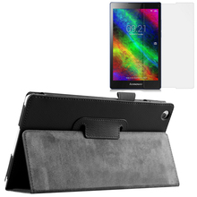 New Luxury Folio Stand Magnetic Leather Case Protective Cover +1x Clear Screen Protector For Lenovo Tab 2 Tab2 A8-50 A8-50F/LC