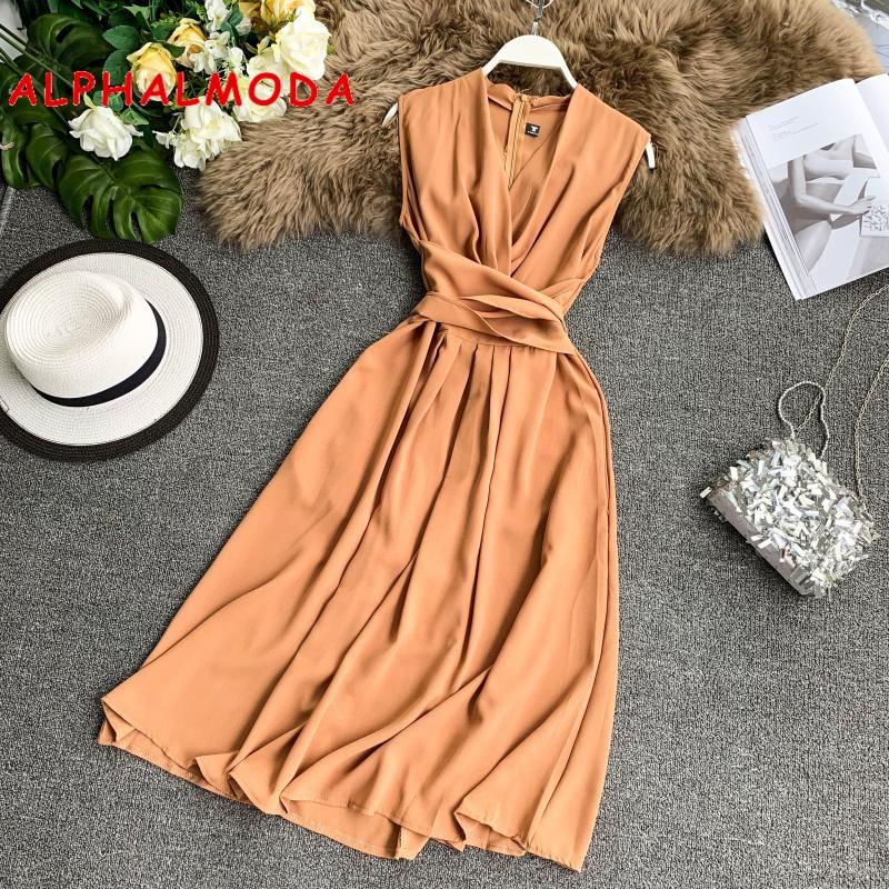 ALPHALMODA V-neck Sleeveless Sashes Women Graceful Solid Chiffon Dress Crossed Tie Slender Mid-calf Summer Vestidos