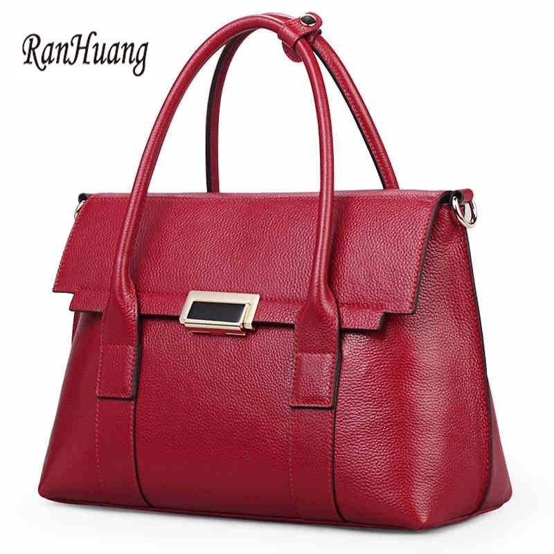 RanHuang Women Luxury Handbags High Quality Genuine Leather Handbags Women s Elegant Shoulder Bags Functional Red