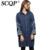 SCQP Geométrica Bordados Mulheres Denim Trench Coat 2016 Outono Casacos de Manga Longa Ocasional Solto Wide-Cintura Das Mulheres Trincheira Longo casaco