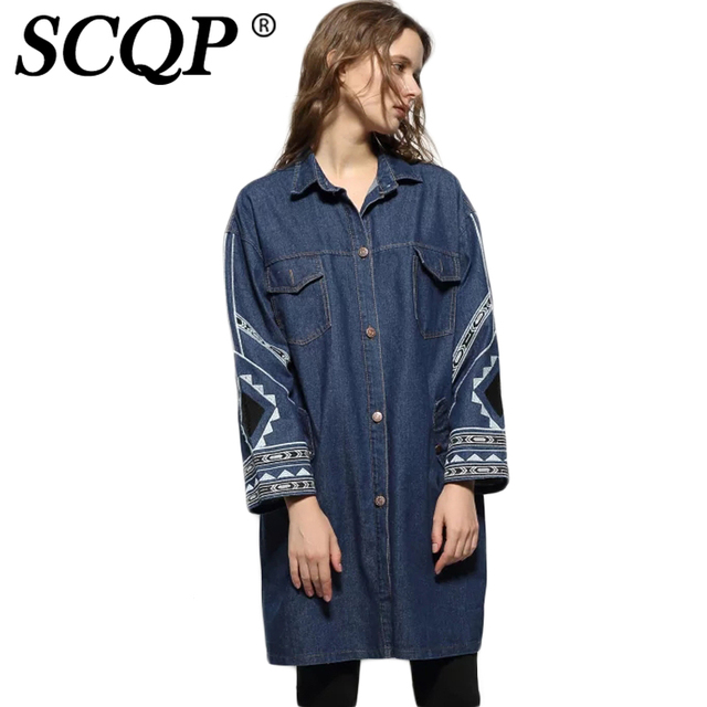SCQP Geometric Embroidery Women Denim Trench Coat 2016 Autumn Long Sleeve Coats Casual Loose Wide-Waisted Women Long Trench Coat