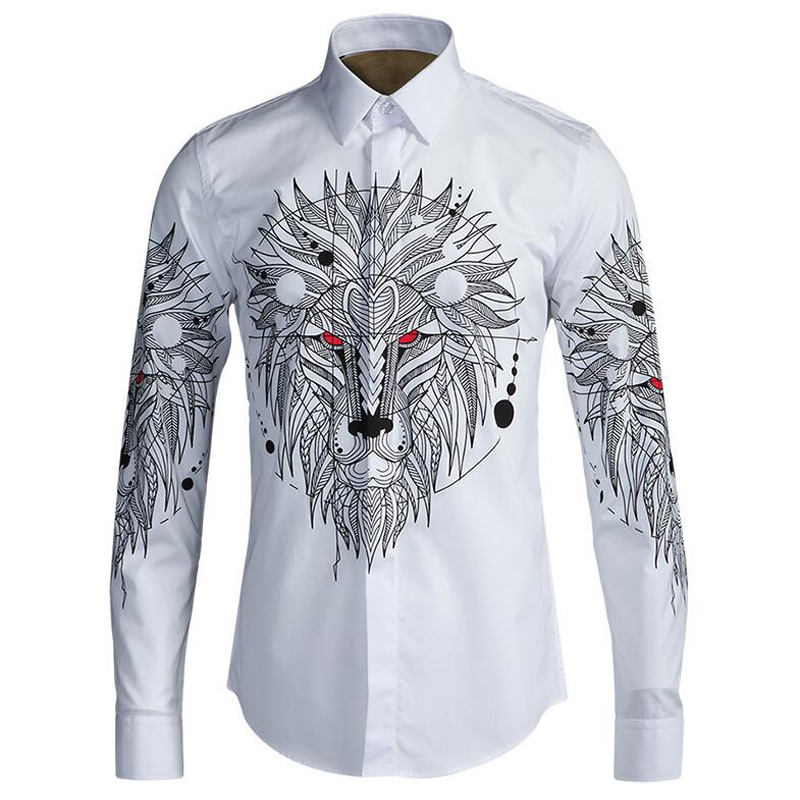 Euro Lion Digital Print Men Shirts Slim Body Cotton White