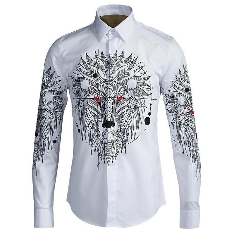 Euro lew druk cyfrowy mężczyźni koszule Slim Body bawełna biała koszula nie prasowania podstawowe koszule na co dzień oddychająca odzież M 4XL w Koszule nieformalne od Odzież męska na  Grupa 1