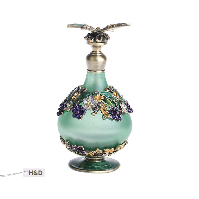 24ml Green Retro Graven Brown Metal and Glass Empty Container Refillable Portable Gift Perfume Bottle Home Decoration