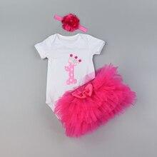 1st Birthday Baby Girl clothes Set Bodysuit jumsuit set Cotton Romper+6 layer tutu skirt Headbands Infant Clothing suit
