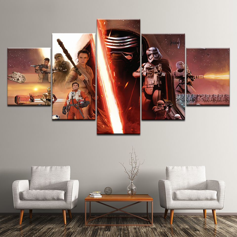 Us 549 44 Offcanvas Painting Star Wars Episode Vii 5 Pieces Wall Art Painting Modular Wallpapers Poster Print For Living Room Home Decor In