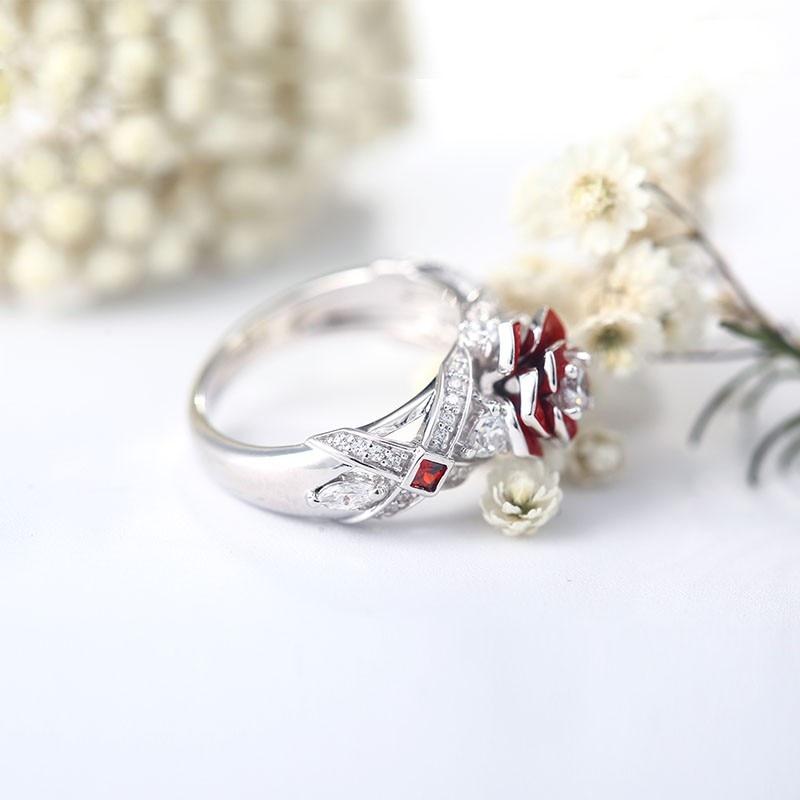 Unique Rose Promise Rings For Her Purple Rose Flower Design 4
