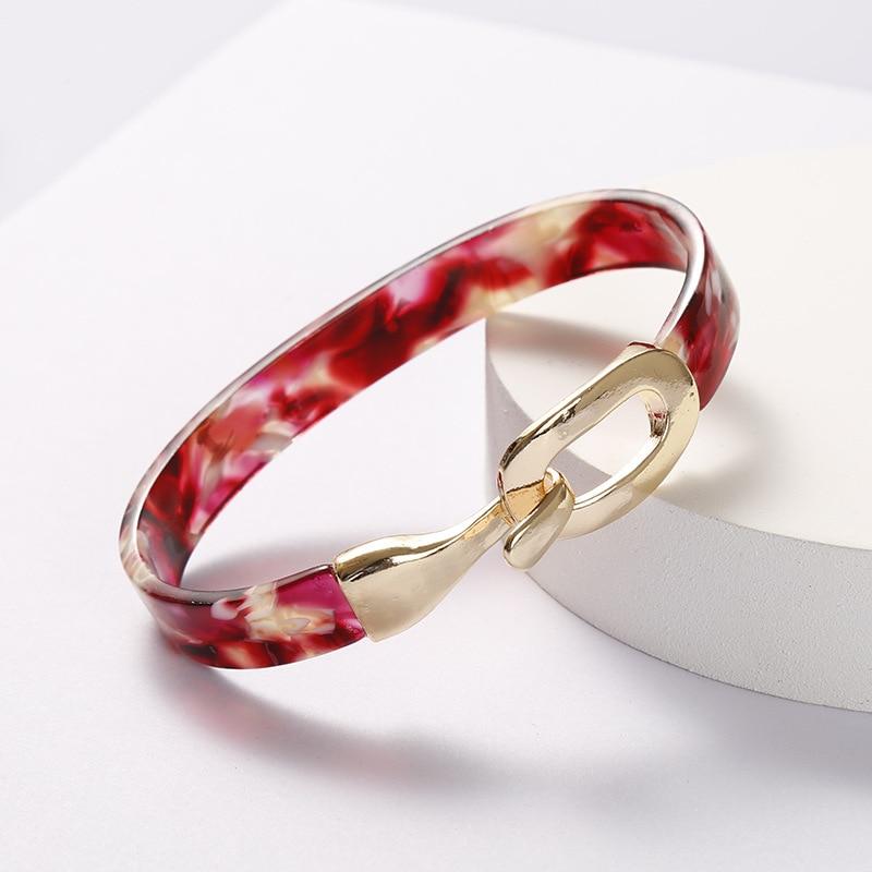 Peony red Fashion Leopard Acrylic Bangles Bracelets Charm Boho Handmade Colorful Open Wide Bangles for Women Jewelry Accessory