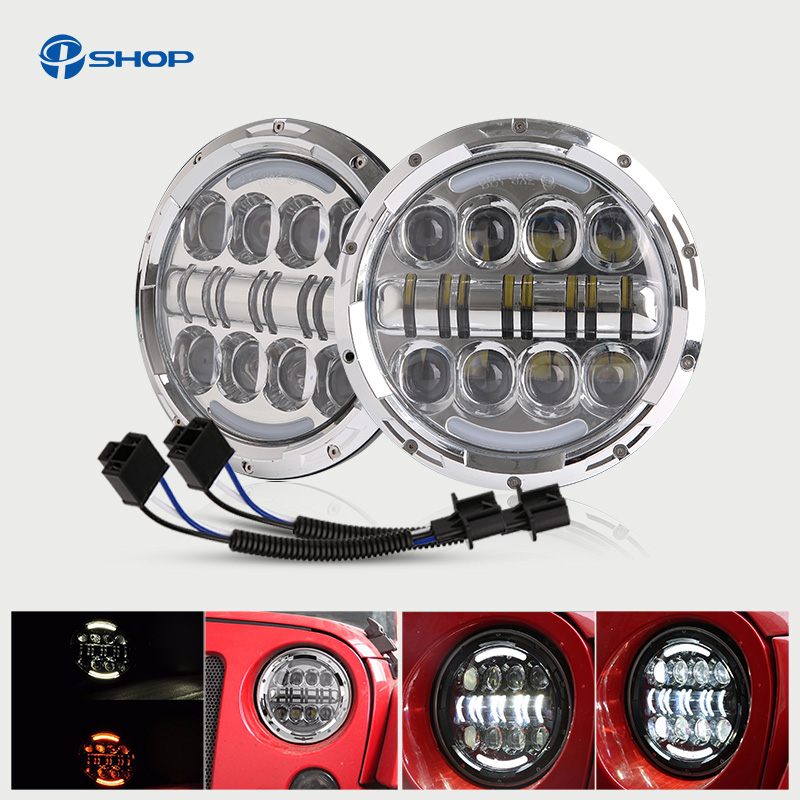 80w 7 inch Round LED Headlight with DRL Hi/lo Beam for Jeep Wrangler Jk Tj for Harley 7 Motorcycle Led Healight Headlamp 2pcs new design 7inch 78w hi lo beam headlamp 7 led headlight for wrangler round 78w led headlights with drl