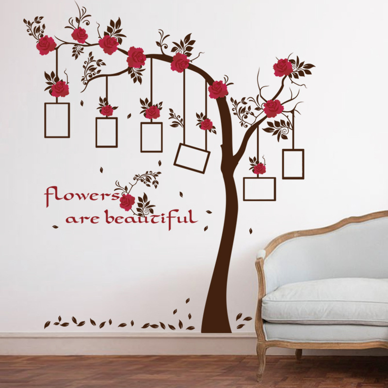 quality large brown phote frame tree wall sticker women living room home  decor self adhesive vinyl murals restaurant poster-in Wall Stickers from  Home ... 44e2add00