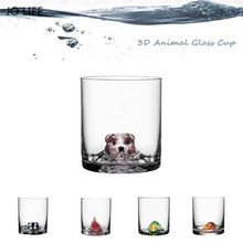 JO LIFE Creative Animal Glass Cup Novelty Cartoon 3D Bear/Duck/Bird/Badger/Fox Shaped Whisky For Bar Home