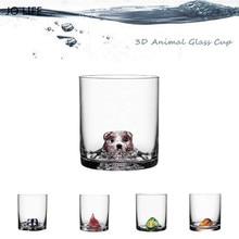 JO LIFE Creative Animal Glass Cup Novelty Cartoon 3D Bear/Duck/Bird/Badger/Fox Shaped Whisky For Bar Home