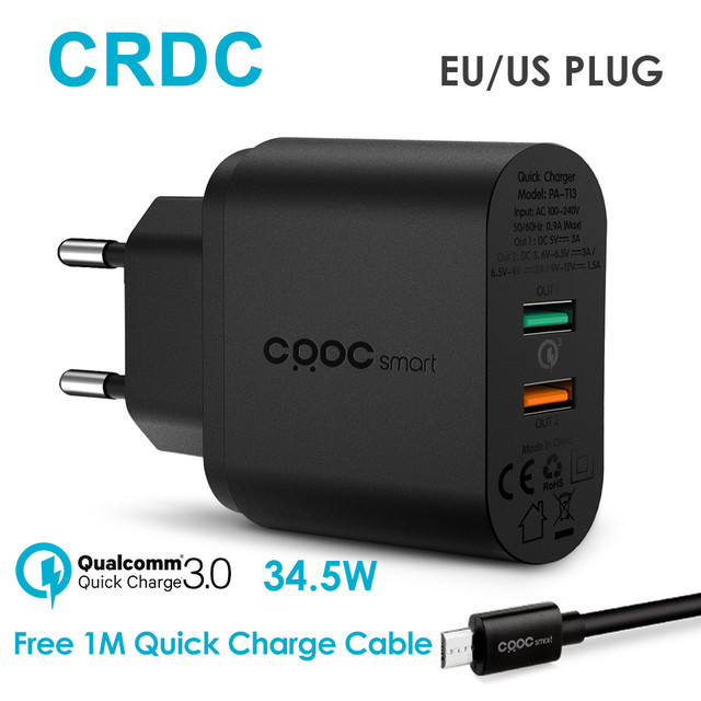 CRDC USB Charger 34.5W Universal Quick Charge 3.0 / QC 2.0 Mobile Phone Charger for iPhone 7 6 Samsung Galaxy s8 7 Xiaomi LG etc