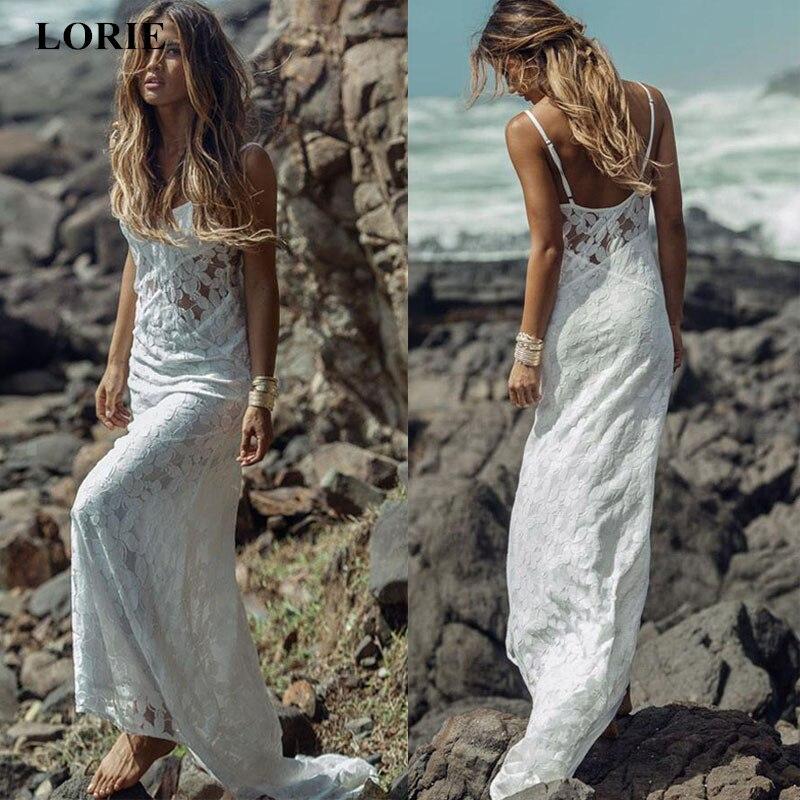 Beach Spaghetti Strap Wedding Gown: LORIE Sleeveless Spaghetti Straps Lace Wedding Dresss 2019