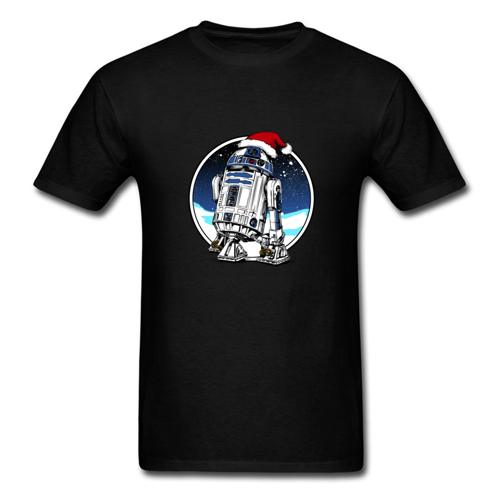 Christmas T Shirt Men Star Wars Tops Santa R2D2 T-Shirt Novelty Cartoon Clothing Black Tshirt Xmas Gift Tees Cotton Cloth