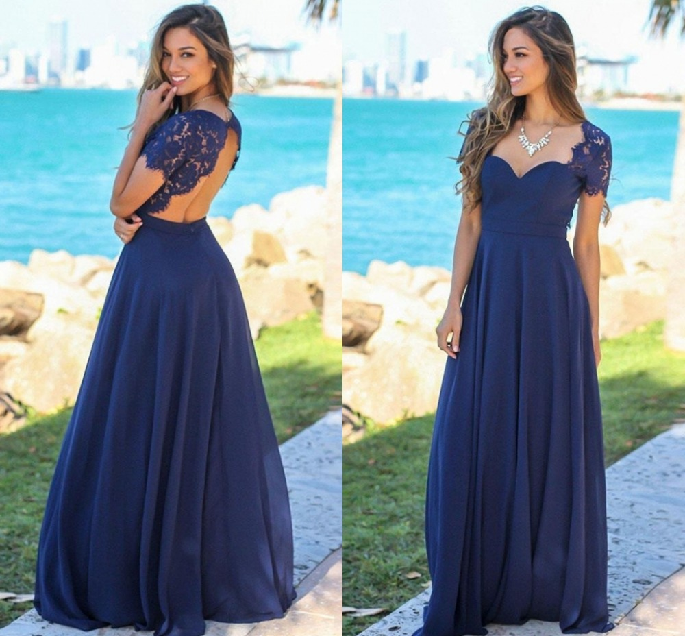 Blue Wedding Dresses 2019: 2019 Beach Navy Blue Long Bridesmaid Dresses With Lace