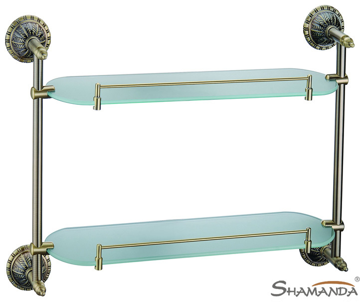 Free shipping-Bathroom Accessories European style Luxurious Antique bronze double glass shelf -wholesale-62012 цена 2017