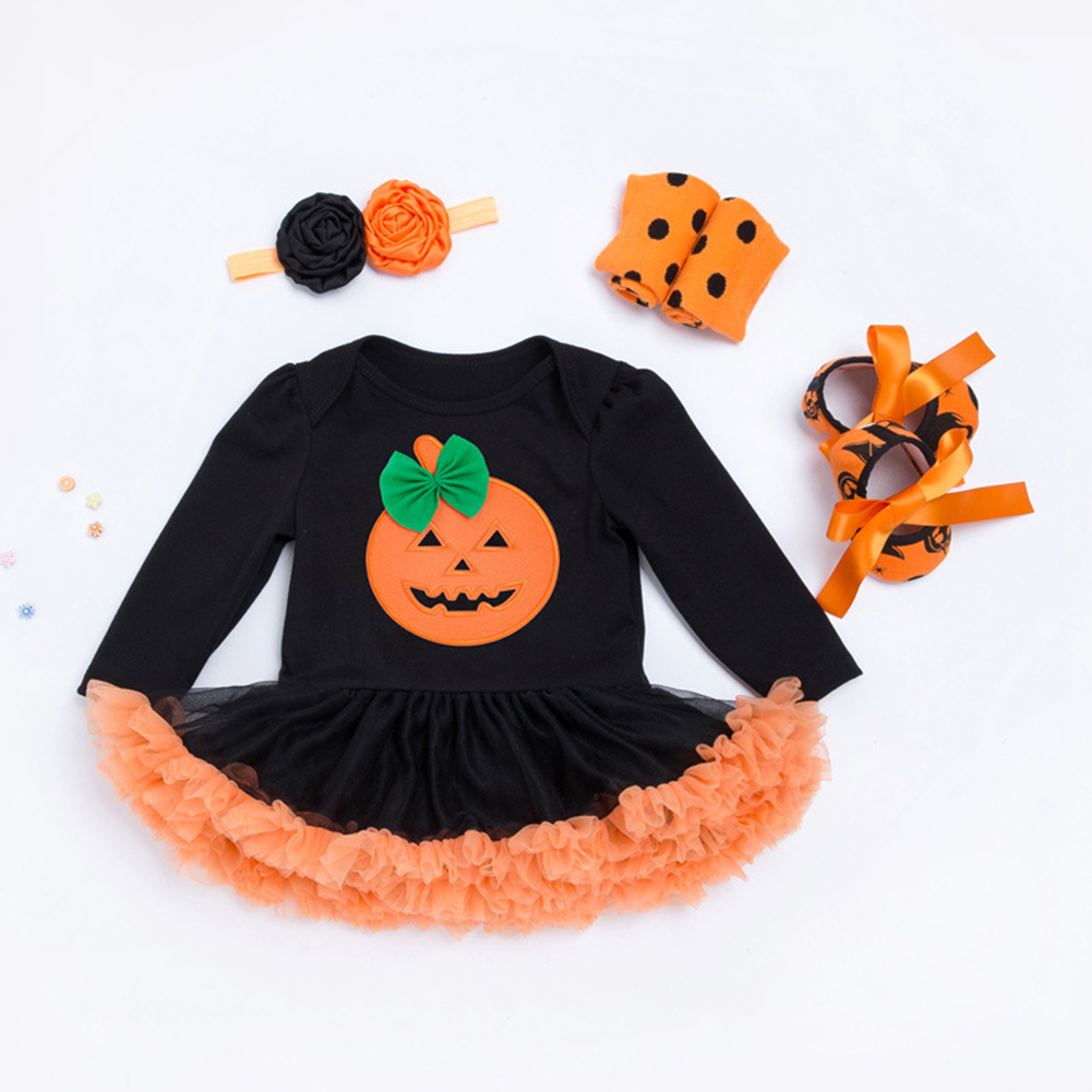 Hot Sale Halloween Baby Costume Baby Girls Rompers Newborn Halloween Pumpkin Jumpsuits Dress Cartoon Printed Baby Rompers ...