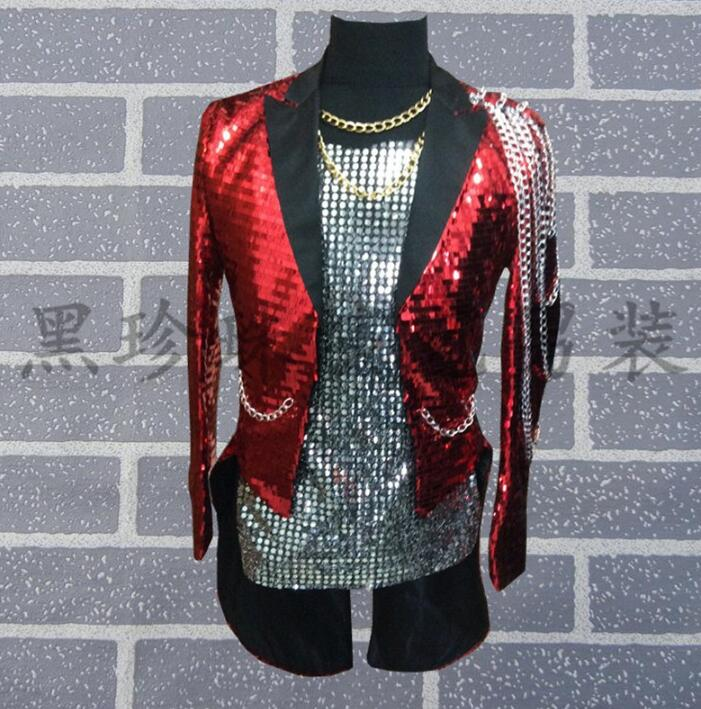 Men Tuxedo Suits Designs Homme Terno Stage Costumes For Singers Men Sequin Blazer Dance Clothes Jacket Star Style Rock Punk