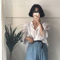 New Women Shirts Loose Full Sleeve Embroidery S National Wind Wave Lace Blouse Shirt White 725
