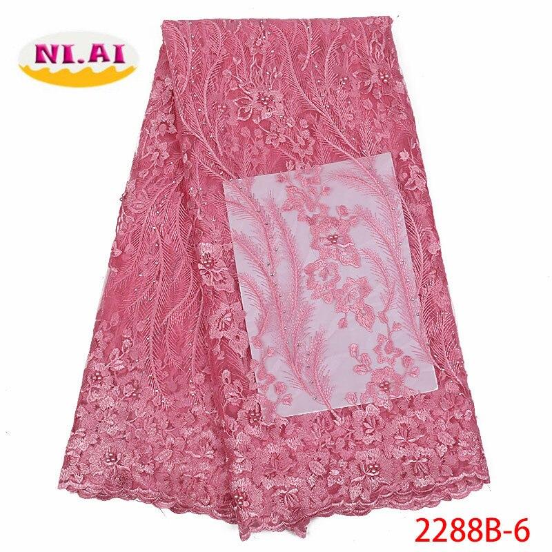 NI.AI Tulle Lace Fabrics Beaded Mesh African Lace Fabric